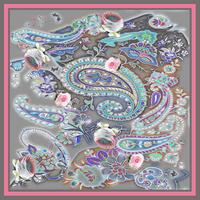 バルサンティ イタリア製 コモシルクスカーフ ペイズリー 50x50