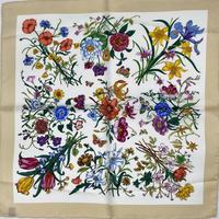 バルサンティ イタリア製 コモシルクスカーフ フィオーレ ベージュ 50x50
