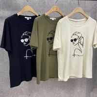 Rosiee クールレディー刺繍Tシャツ