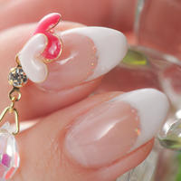 Nailアクセサリー ハートswing Pink   リングセット