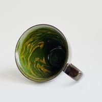 マーブルグリーン マグカップ 黒土