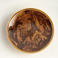 マーブル 5寸皿 ブラウン