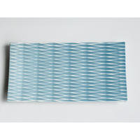 陶切子 長角皿 ブルー