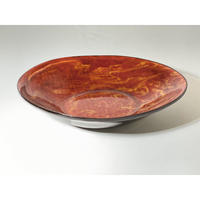【手造り】マーブル  楕円皿 レッド