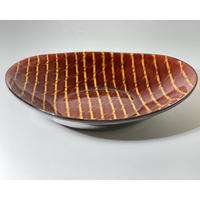【手造り】スリップウェア  楕円皿  レッド