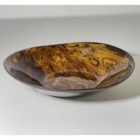 【手造り】マーブル  楕円皿  ブラウン