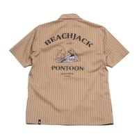 "BeachBum シャツ(半袖) ""BEACH JACK""  Color:オーカー/ブラウン"