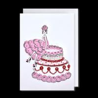 "✦Yurika's Drawing✦ ""ROSE LADY with ROSE CAKE"" GREETING CARD[L]"