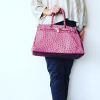 BIRKIN-ISH PRINT BAG: ostrich-mauve pink L-size