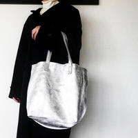 METALLIC LEATHER TOTEBAG - WhiteSilver