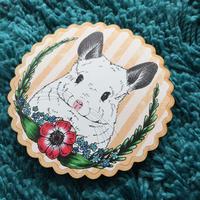 【Chinchilla souri*】お花とチンチラのウッドコースター