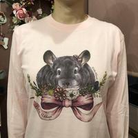 《デ・カリボン×Chinchilla souri*》2020デ・カリボンロングスリーブTシャツ (ピンク)