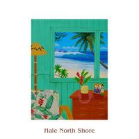 ヒロクメアート 四つ切マット付 海の見える窓辺が描かれたハワイアンアート『Hale North Shore』。HK015A