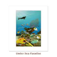 ヒロクメアート 四つ切マット付 海底の美しい魚たちの世界が描かれたハワイアンアート『Under Sea Paradise』。HK015D