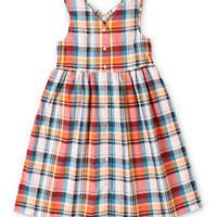 DENIM DUNGAREE|綿麻マドラスチェック ジャンパー スカート サイズ100,120