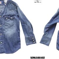 DENIM DUNGAREE  ライトオンスデニム ノーカラー シャツ 14BLブルー サイズ01,02