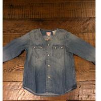DENIM DUNGAREE  ライトオンスデニム ノーカラー シャツ 14BLブルー  サイズ100