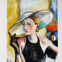帽子を被った婦人