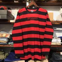 """【ラス1】RUGGED """"RUGGED TOKYO"""" border L/S tee (Red)"""
