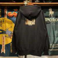 "【残り僅か】RUGGED ""HARD COCAIN"" reverse weave sweat zip-up hoodie (Black/12.0oz)"