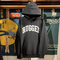 "RUGGED ""ARCH LOGO"" reverse weave  sweat hoodie (Black/12.0oz)"