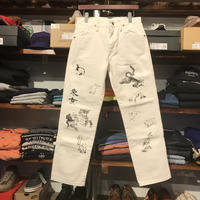 "RUGGED on vintage ""JAPAN ANIMAL"" color denim pants (White)"