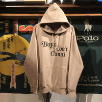 "【ラス1】RUGGED ""Boys don't Cunni"" big-size  hoodie (Beige/9.0oz.)"
