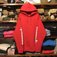 "【ラス1】RUGGED ""rugged®︎"" sleeve logo sweat hoodie (Red)"