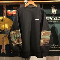 "RUGGED ""rugged®︎'' elbow patch military pocket sweat (Black/W.Camo)"