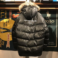 "【残り僅か】RUGGED limited ""FUCK des BABYLON"" leather down jacket (Black)"