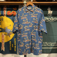 CAMPIA island print aloha shirt (L)