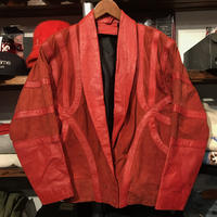 nobrand mix leather jacket (Red)