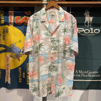 PARADISE FOUND wood button aloha shirt (XL)