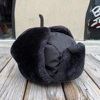 no brand fake fur flight cap (Black)