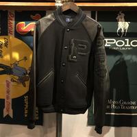 "POLO RALPH LAUREN ""P"" patch leather stadium jacket (M)"