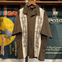 D clothing tribal pattern open collar S/S shirt (L)