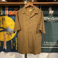 Caribbean silk plane open collar S/S shirt (M)