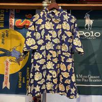 RUM REGGAE shell pattern aloha shirt (L)