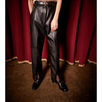 FAKE LEATHER FLARE PANTS (BLACK) R60006