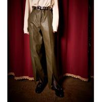 FAKE LEATHER  FLARE PANTS (KHAKI) R60006