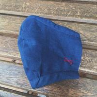 藍色マスクkids 木綿 リボン