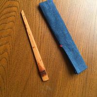 煤竹の菓子切り+藍の菓子切り入れ ①