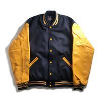 GAME Sportswear Wool x Genuine Leather Varsity Jacket - Navy/Yellow