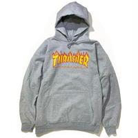 THRASHER FLAME LOGO HOOD - GREY