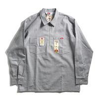Ben Davis Polyester/Cotton L/S Striped 1/2 Zip Work Shirts - Hickory