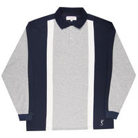 Yardsale Orleans Longsleeve Polo - Athletic Grey/Navy/White