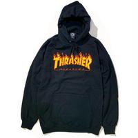 THRASHER FLAME LOGO HOOD - BLACK