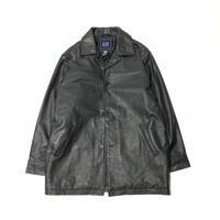 USED OLD GAP LEATHER COAT-BLACK