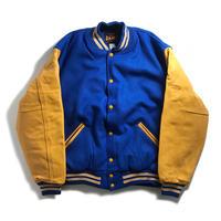 GAME Sportswear Wool x Genuine Leather Varsity Jacket - Royal/Yellow