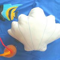Shell Cushion. White Denim シェルクッション ♡ターコイズ